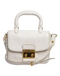 Miu Miu - White Leather Madras Satchel Shoulder Bag - Lyst