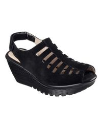 Skechers - Black Women's Parallel Trapezoid Platform Wedge Sandal - Lyst
