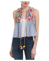 Haute Rogue - Blue Embroidered Vest - Lyst