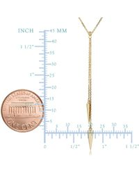 """JewelryAffairs - 14k Yellow Gold Double Triangle Lariat Necklace, 17"""" To 18"""" Adjustable - Lyst"""