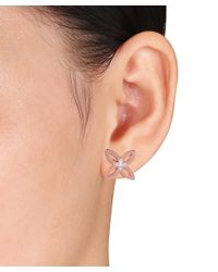 Catherine Malandrino - Pink 18k Rose Gold Plated Four Leaf Stud Earrings - Lyst
