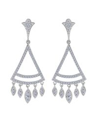 JewelryAffairs - White Sterling Silver And Cubic Zirconia Triangle Shaped Chandelier Earrings - Lyst
