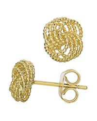 JewelryAffairs - 14k Yellow Gold Twisted Cable 4 Line Love Knot Type Stud Earrings, 9 X 8mm - Lyst