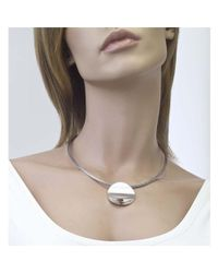 Jewelista - White Sterling Silver Pendant & Wire Necklace - Lyst