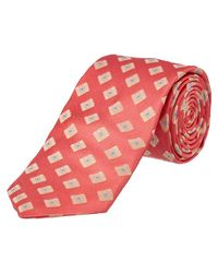 Ike Behar - Pink Salmon Summer Squares Silk Tie for Men - Lyst