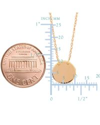"""JewelryAffairs - Pink 14k Rose Gold Mini Engravable Disk Pendant Necklace, 16"""" To 18"""" Adjustable - Lyst"""