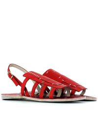 Henry Beguelin - Women's Red Leather Sandals - Lyst