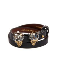 Alexander McQueen - Multicolor Double Wrap Queen And King Skull Leather Bracelet - Lyst