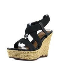 Söfft - Black Perla Open Toe Canvas Wedge Sandal - Lyst