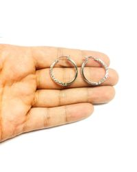 JewelryAffairs - White Sterling Silver Rhodium Finish Shiny Diamond Cut Finish Wavy Round Hoop Earrings - Lyst