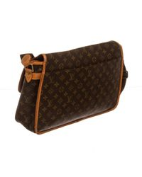 Louis Vuitton - Brown Pre Owned - Monogram Canvas Leather Gibeciere Gm Messenger Bag - Lyst