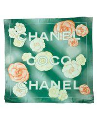 Chanel | Green Camellia Silk Scarf | Lyst