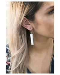Pangea Mines - White Agate Linear Dangle Earrings - Lyst