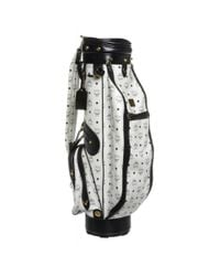MCM - Pre Owned- White Leather Monogram Blue Trim Golf Bag for Men - Lyst
