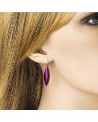 Jewelista - Stainless Steel Aluminum Purple Tulip Drop Earrings - Lyst