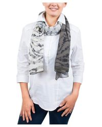 Emanuel Ungaro - Gray Un7018 S7790 Floral Mesh Print Grey/khaki Silk Scarf - Lyst