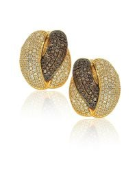 Suzy Levian - Golden Sterling Silver Brown Chocolate And White Cubic Zirconia Crossover Earrings - Lyst
