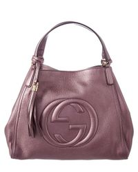 46a52ee98bff Lyst - Gucci Soho Metallic Leather Shoulder Bag in Purple