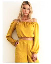 Noa Elle - Metallic : Lily Washed-satin Off Shoulder Top - Lyst