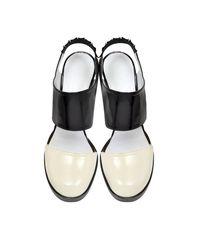 Jil Sander - Women's Js2229600509 White/black Leather Sandals - Lyst