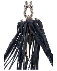 Roberto Cavalli - Black Studded Leather Concealed Horn Pendant Necklace - Lyst