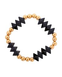 Eklexic - Metallic Men's Gold Bead And Double Spike Crystal Stretch Bracelet for Men - Lyst