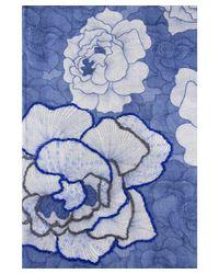 Saachi - Blue Women's Stitch Flower Scarf - Lyst
