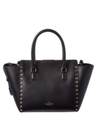 Valentino - Black Rockstud Small Leather Double Handle Tote - Lyst