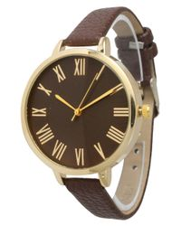 Olivia Pratt - Brown Skinny Classic Roman Numerals Leather Band Watch - Lyst