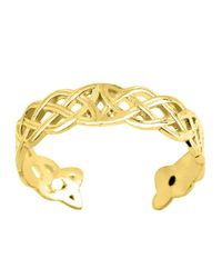 JewelryAffairs - 14k Yellow Gold Celtic Knot Weave Design Cuff Style Adjustable Toe Ring 4mm - Lyst