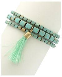 Sparkling Sage - Green 14k Plated Resin Tassel Set Of 3 Stretch Bracelets - Lyst