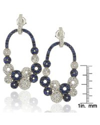 Suzy Levian - Metallic Sterling Silver And 18k Gold Sapphire And Diamond Multi-circle Earrings - Lyst