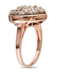 Catherine Malandrino - Pink Heart Shape Rose Druzy Gemstone Cocktail Ring - Lyst