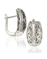 Suzy Levian - Metallic Sapphire And Diamond In Sterling Silver And 18k Gold Earring - Lyst