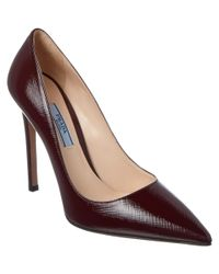 Prada - Multicolor Saffiano Patent Pointy-toe Pump - Lyst