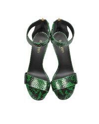 Balmain - Women's S7css150420140 Green Python Skin Wedges - Lyst