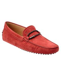 Tod's - Red Gommino Nubuck Driving Shoe for Men - Lyst