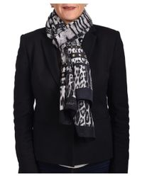 Roberto Cavalli - Women's Leopard Skin Patterned Silk Scarf Black Charcoal - Lyst