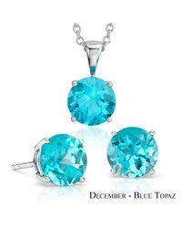 Suzy Levian - Blue 18k Goldplated Sterling Silver 3ct Sapphire Topaz September Birthstone Set Made With Swarovski Gemstones - Lyst
