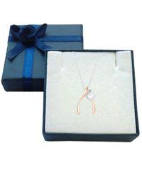 JewelryAffairs - White Sterling Silver Rose Finish Wishbone Puffy Heart Necklace, 18 - Lyst