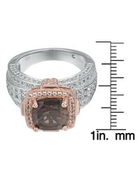 Suzy Levian - Brown Sterling Silver Cushion 4.96 Cttw Smoky Quartz Ring - Lyst