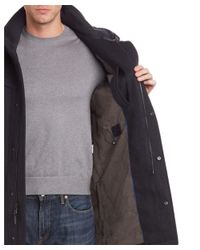 Cole Haan - Gray Wool-blend Leather-trim Coat for Men - Lyst