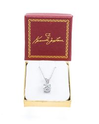 CZ by Kenneth Jay Lane - Metallic 2cttw Round Cz Classic Necklace Pendant - Lyst