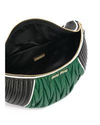 Miu Miu - Women's Black/green Leather Travel Bag - Lyst