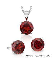 Suzy Levian - Multicolor 18k Goldplated Sterling Silver 3cttw Red Garnet Topaz January Birthstone Set Made With Swarovski Gemstones - Lyst