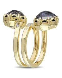 Catherine Malandrino - Metallic Hematite And Diamond Ring In 18k Yellow Gold Plated Sterling Silver - Lyst