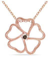 Catherine Malandrino - Pink Brown Diamond Floral Heart Pendant - Lyst