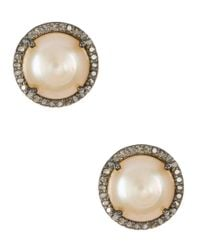 Adornia - Pink Freshwater Pearl And Champagne Diamond Echo Earrings - Lyst