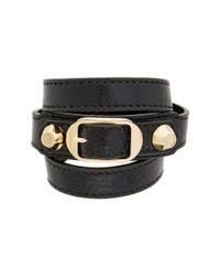 Balenciaga - Black Wrap Around Leather Bracelet - Lyst