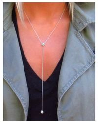 Amanda Rose Collection | Metallic Chic Womens Vertical Cubic Zirconia Y Necklace In Sterling Silver | Lyst